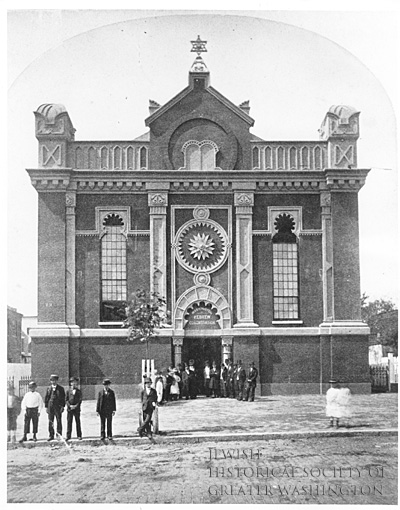 The former Washington Hebrew Congregation synagogue on 8th and I Streets, modified from a Methodist Church. Washington Hebrew Congregation Collection. (reproduced under Fair Use).