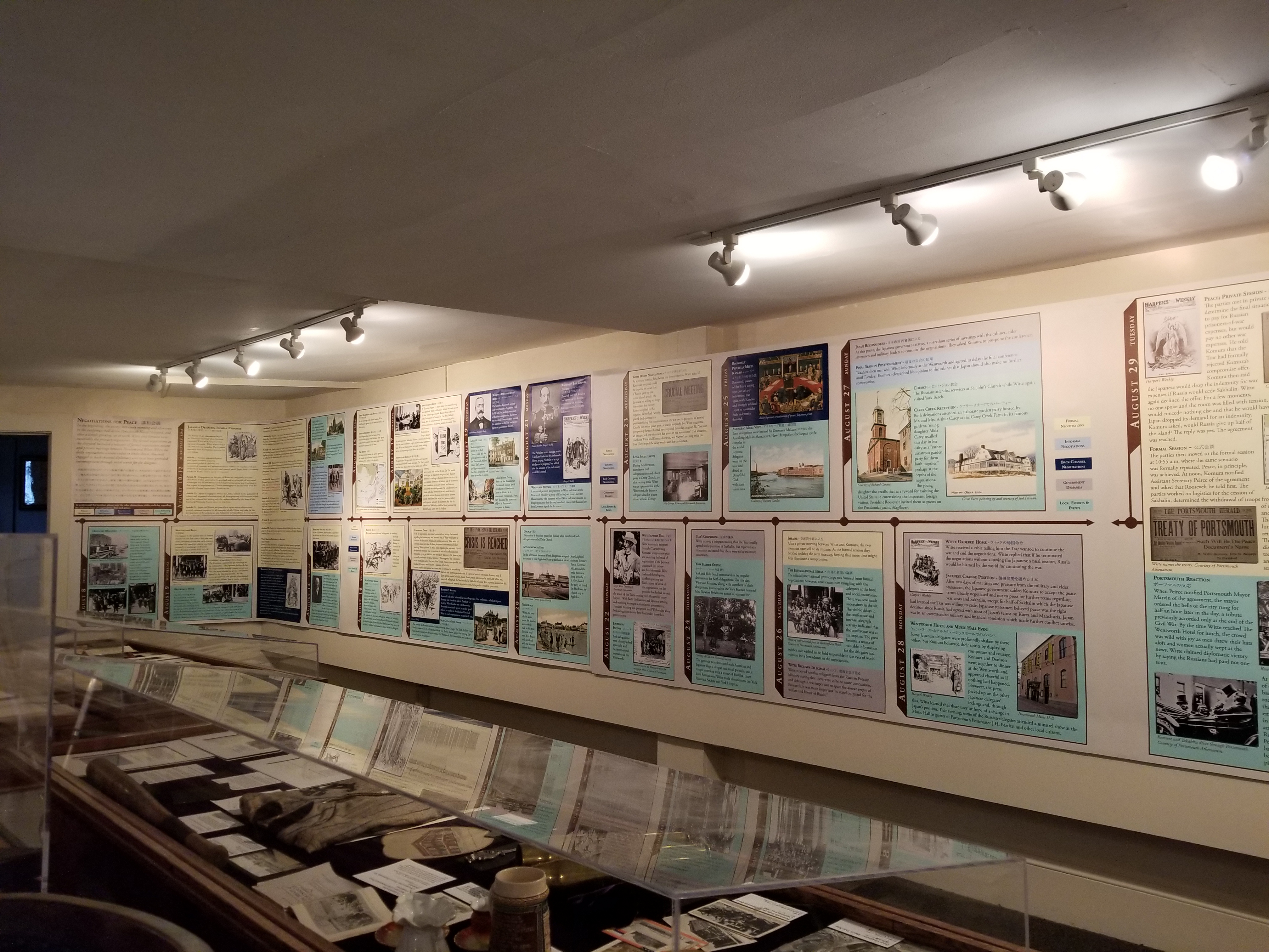 The Treaty exhibit includes a day-by-day timeline of events in Portsmouth during the negotiations.