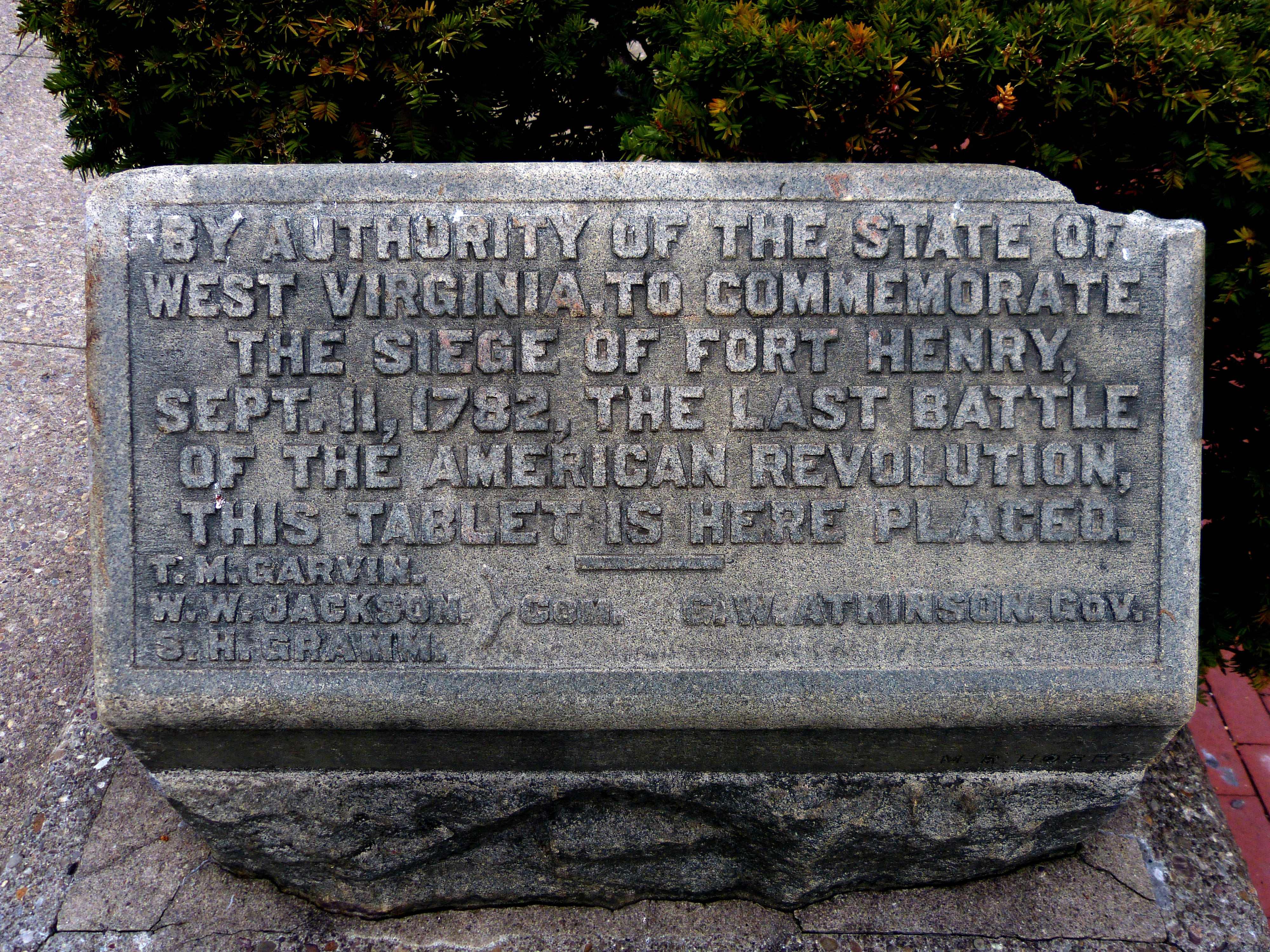 This Wheeling tablet was dedicated in the early 1900s to commemorate the siege of Fort Henry