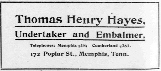 Newspaper ad for T.H. Hayes and Sons Funeral Home