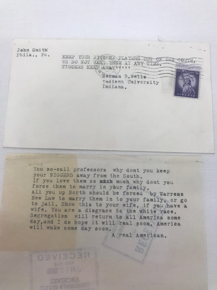 This letter to Herman B. Wells is another example of the backlash that Wells received from activists for the decision to send Eddie Whitehead on the 1956 spring baseball teams tour of the south. We can see that racial tensions were very high and Wells was the target of many segregationists. We also see the values and beliefs of some very nasty individuals through observing these types of letters received by Wells.