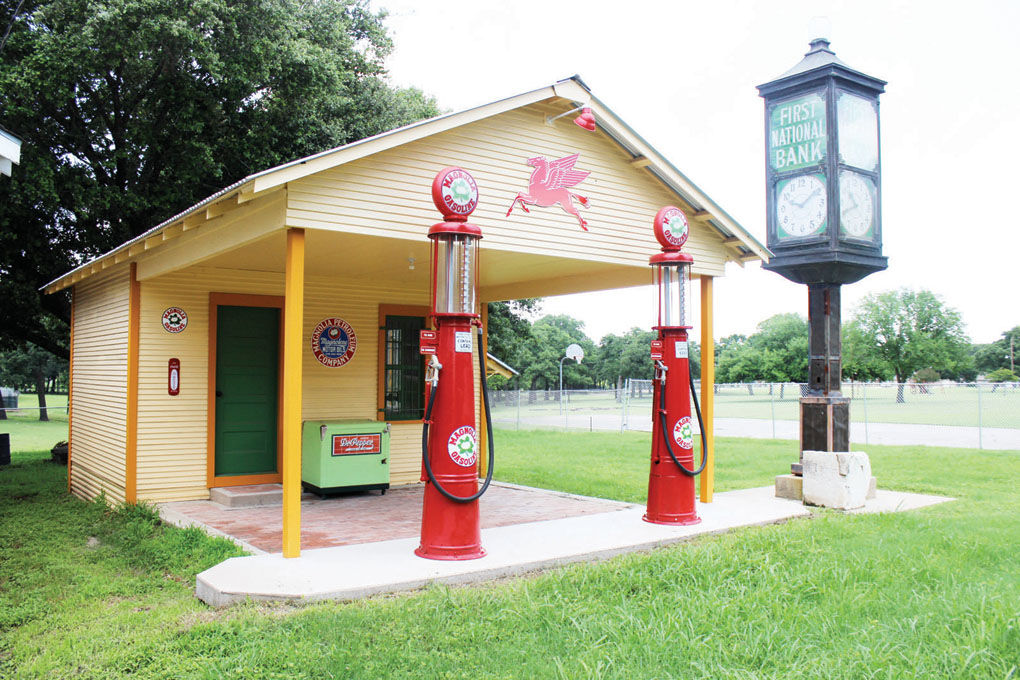 This gas station and the other structures at Pioneer Village help recreate what Corsicana may have looked like in the 19th and early 20th centuries.