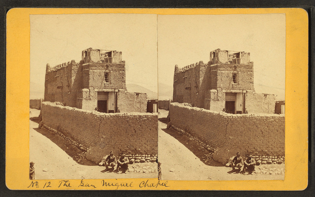 American chapel of San Miguel, by Ben Wittick. Taken somewhere between 1870 and 1885.