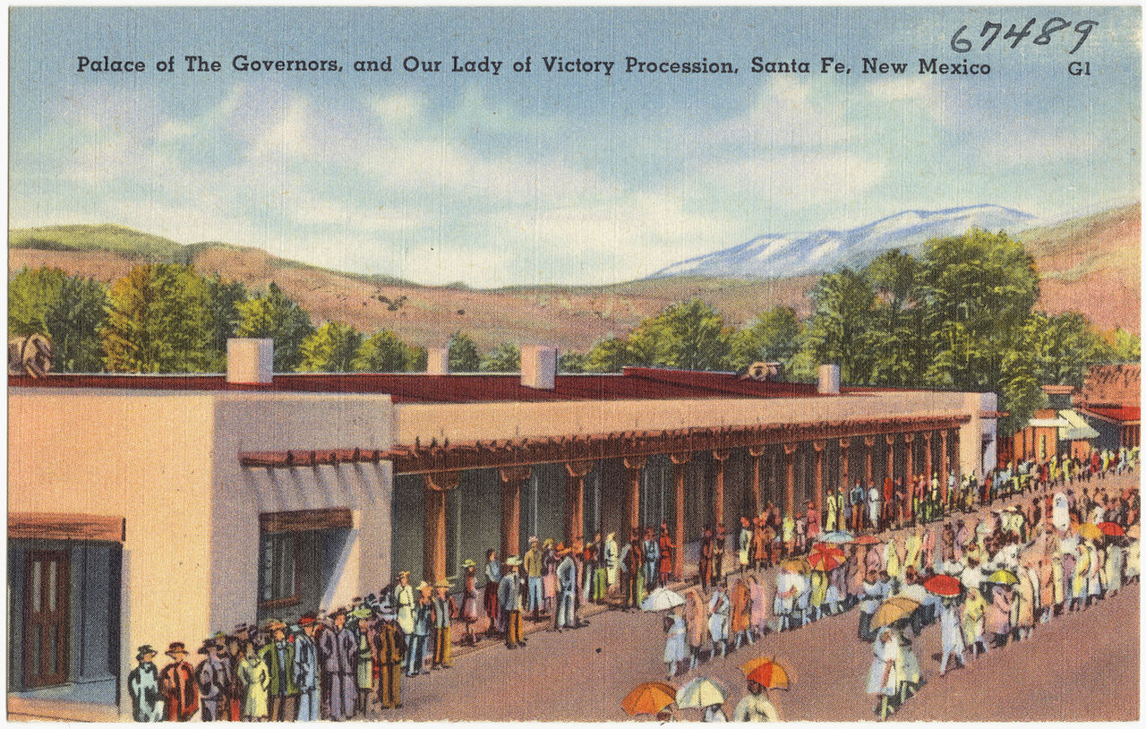 The Palace of the Governors in Santa Fe, seen here in a 1930s postcard, was besieged by the Pueblo in August 1680
