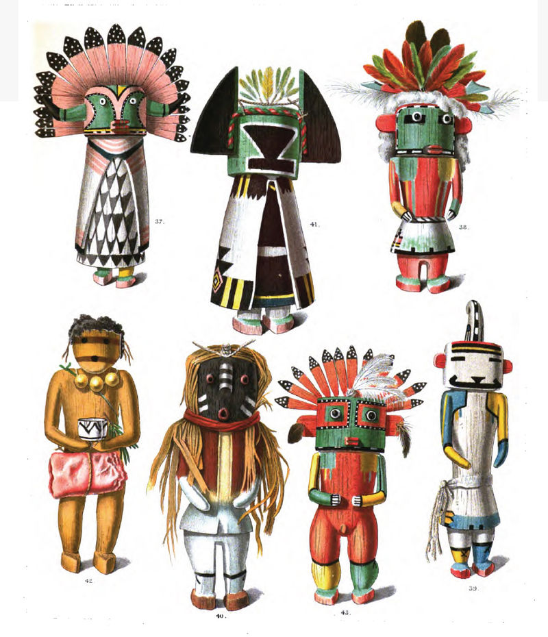 The most important cause of the Pueblo Revolt was probably the attempt of the Spanish to destroy their religion, banning traditional dances and religious icons such as these kachina dolls.