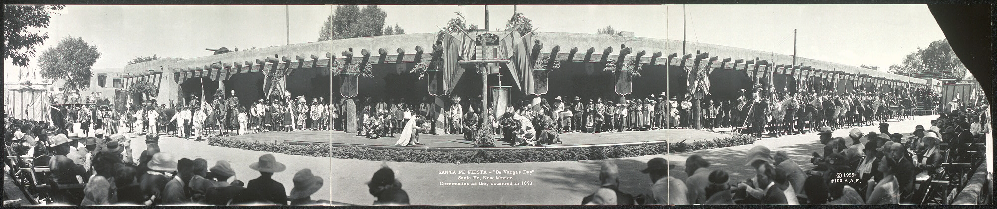 "1921 photo of ""de Vargas Days"" ceremonies in Santa Fe. Courtesy of the Library of Congress."