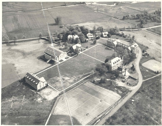 Aerial photograph of the campus circa 1920