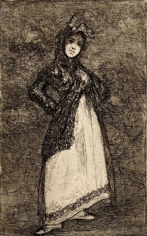 Standing Woman Wearing a Mantilla (Maja), c 1827-8, posthumous pre1859 impression, Francisco de Goya (1746-1828), Etching and aquatint. Courtesy British Museum (loan to New Mexico Museum of Art)
