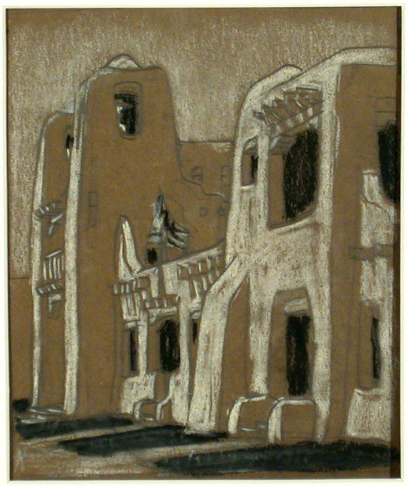 Temple of St. Francis Art Gallery (Santa Fe sketches) circa 1917 Gustave Baumann, American, born Germany, 1881 - 1971 Charcoal and chalk on paper Gift of Jane Baumann, 1979