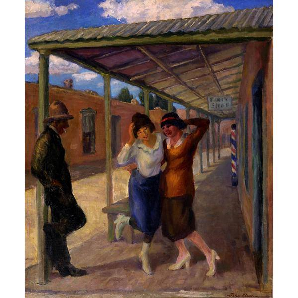 John Sloan, American, 1871 - 1951 Under the Old Portal, 1919 (reworked 1945) Old Portale, Santa Fe oil on canvas Collection of the New Mexico Museum of Art.  Gift of Julius Gans, 1946
