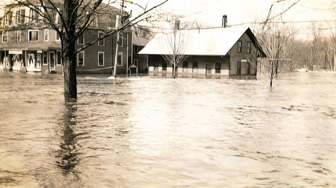 Image of the Contoocook Depot following the flood of 1936.
