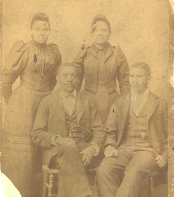 Hathaway family, ca 1890. Seated, Robert Elijah Hathaway (left), Isaac Scott Hathaway (right, standing, Fannie Hathaway (left), Eva Hathaway (right). Courtesy, Mosaic Templars Cultural Center, Little Rock, AR.