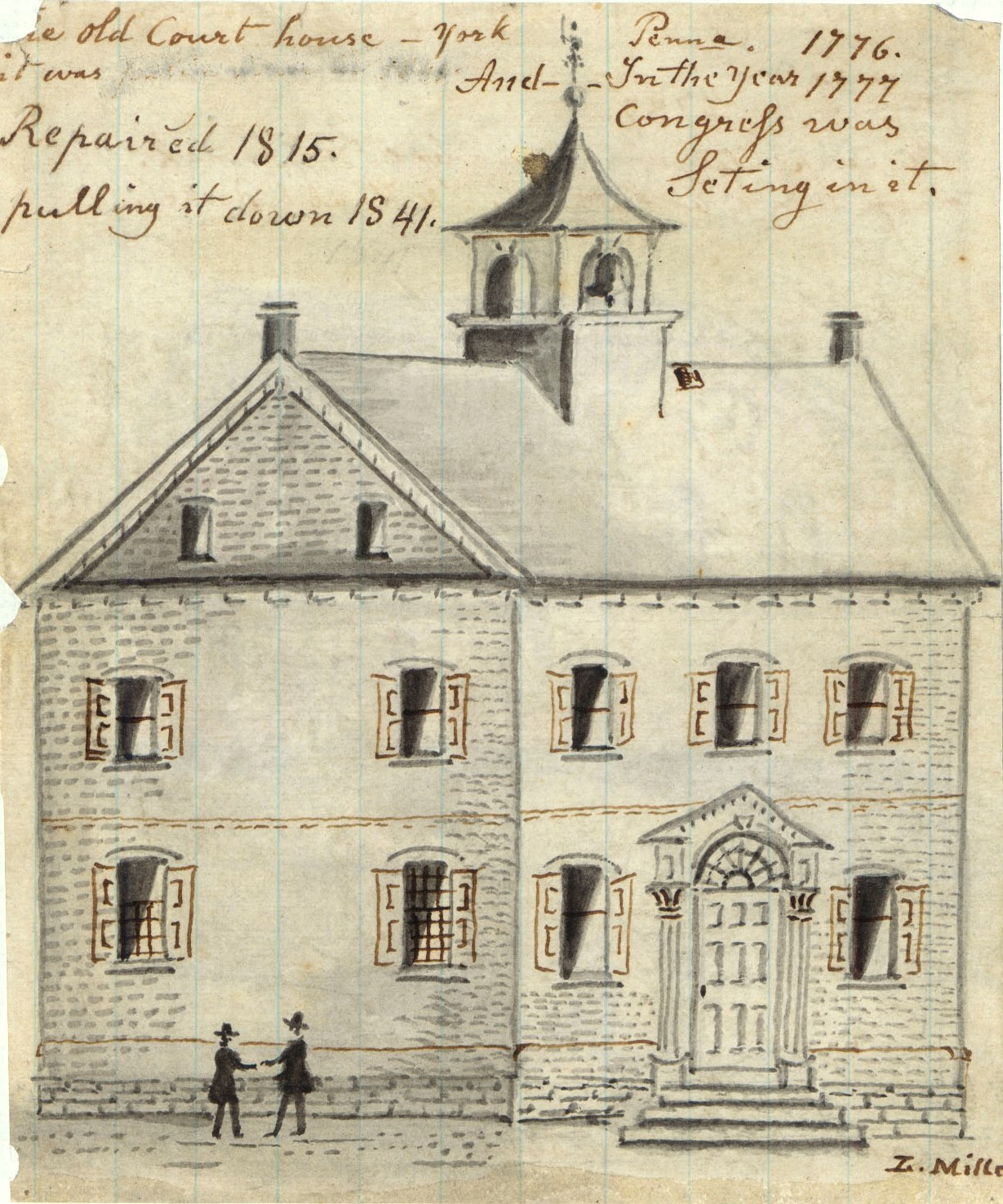 Sketch of the original courthouse by folk artist, Lewis Miller. Was located at the intersection of Market Street and George Street--the Center Square.
