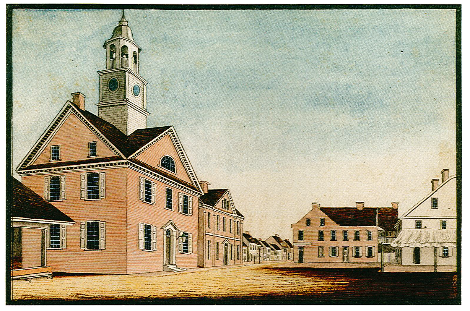 1830 painting by local artist, William Wagner, reflecting the 1815 renovation. Original location in Centre Square at the intersection of Market Street and George Street.