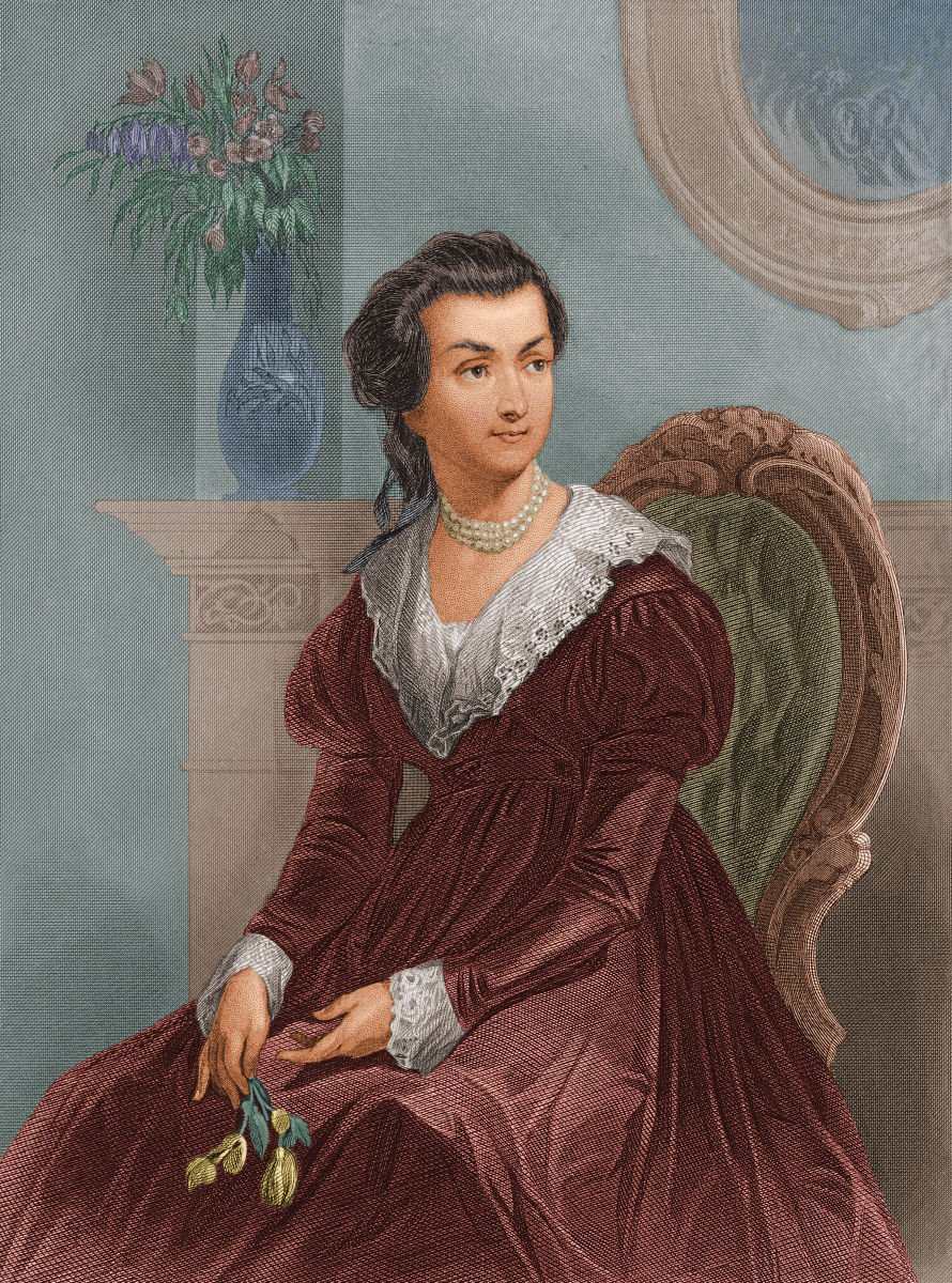 A contemporary portrait of the young Abigail Adams, who was known even during her lifetime for her strong partnership and influence with husband (and later President) John Adams.