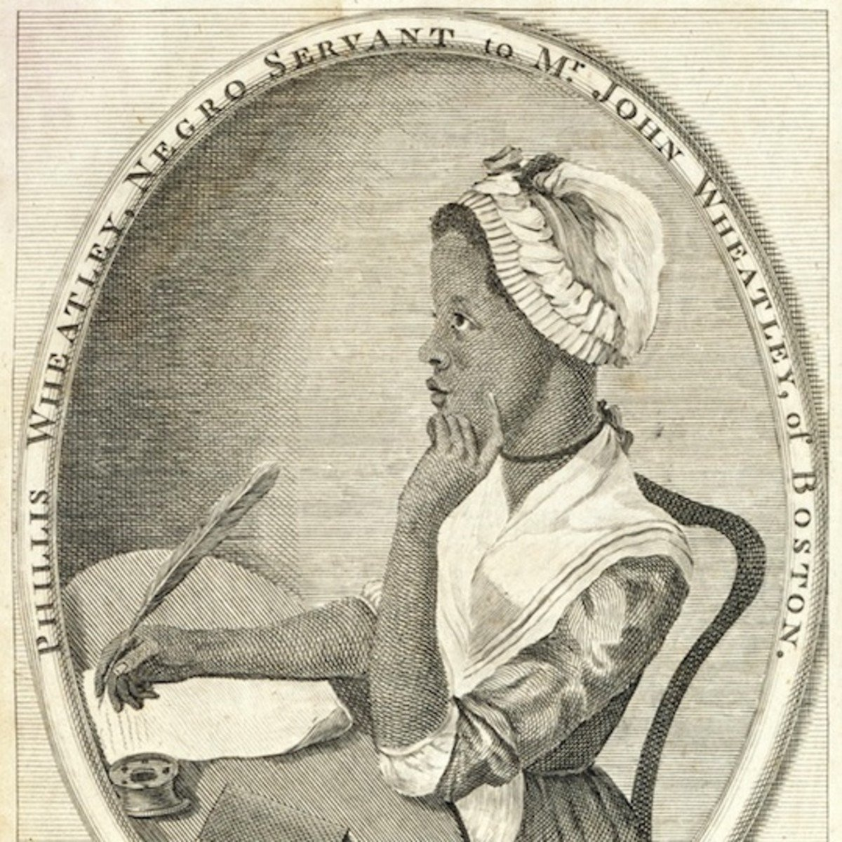 Phyllis Wheatley, a poet and slave in colonial America. The first African-American women to publish a book of poetry, she carried on a long correspondence with George Washington and even visited his headquarters in 1776.