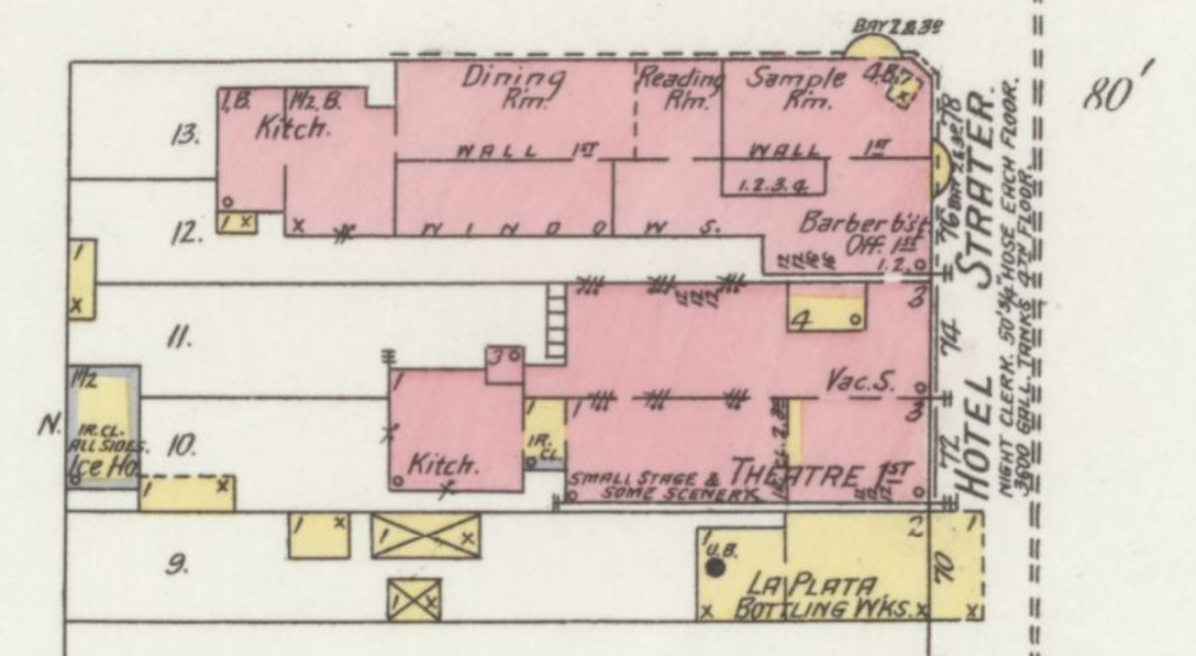 Hotel Strater (in red for brick) on 1898 Sanborn Fire Insurance Map of Durango (Sanborn Map Company)