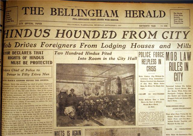 Front page of Bellingham Herald the day following the riot. Source: http://www.wce.wwu.edu/resources/AACR/documents/bellingham/main/1.htm