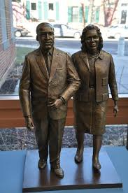 The statue is made from bronze and is the only one of its kind in America, with Dr. King and his wife side-by-side holding hands.
