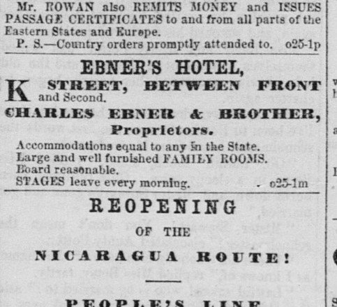 An October 1862 advertisement in the Sacramento Daily Union, only six years after the hotel's opening, trumpets the quality of lodgings. Charles Ebner died only six years later, in February 1868.