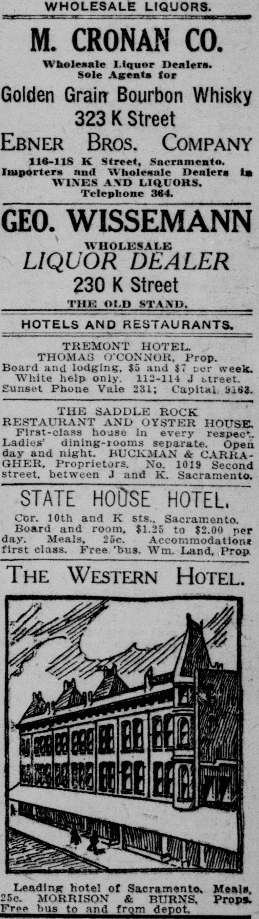 By the early 1900s, much of the Ebner Hotel's revenue was actually due to the sale of liquor--as evidenced by this newspaper advertisement. The hotel's fortunes plunged again when Prohibition outlawed alcohol in the 1920s.