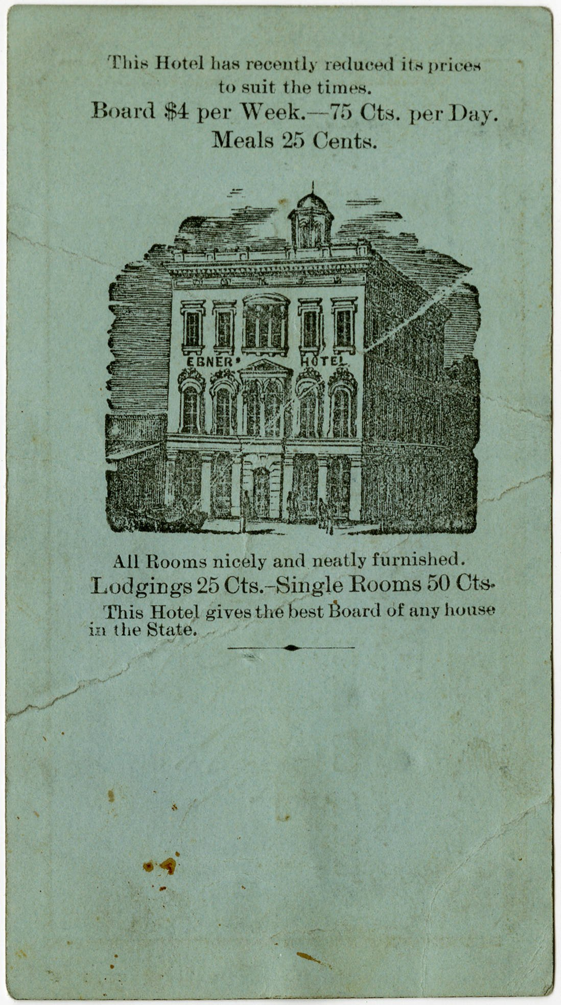 The back of Dietrich's business card doubled as an advertisement for the hotel itself, providing travelers with essential information about the lodgings (Sacramento Public Library).
