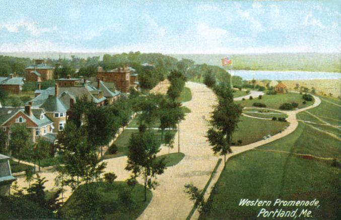 A scan of a postcard, circa 1908, featuring an image of Portland's Western Promenade, public domain provided by the NPS