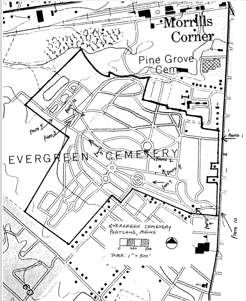 A drawn map of the cemetery, listed by the NPS with the cemetery's NRHP nomination