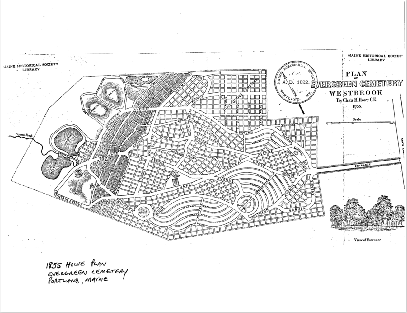 The original plan for the cemetery, listed by the NPS with the cemetery's NRHP nomination