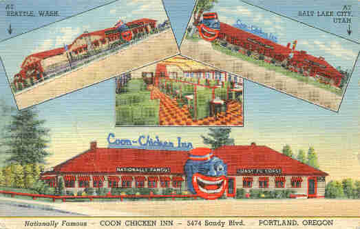 Postcard from Portland's Coon Chicken Inn with the company's restaurants in Seattle and Salt Lake in the background