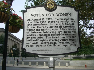 This nearby historical marker relates the dramatic final vote on ratification in the Tennessee legislature where advocates of suffrage and opponents wore different colored roses on their lapels to signify their position.