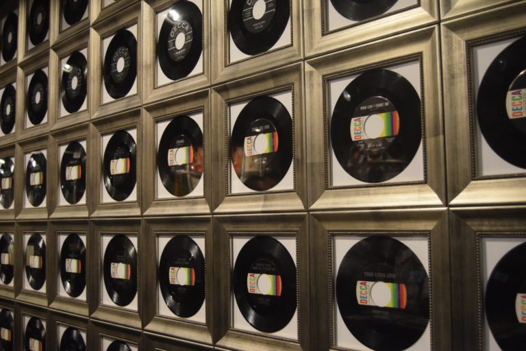 "The ""record wall"" at the Patsy Cline Museum"