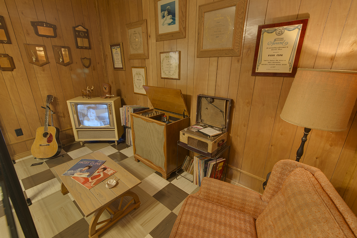 Reconstruction of Patsy's rec room in her suburban Nashville home, circa early 1960s