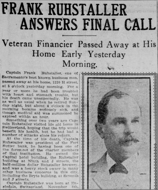 "An excerpt from Ruhstaller's obituary in the Sacramento Union in 1907. He was known as ""Captain"" Ruhstaller due to his service in the California Hussars, a National Guard unit from the 19th Century. Ruhstaller was also an accomplished marksman."