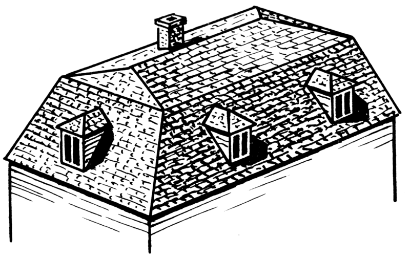 Generic illustration of a Mansard roof, one of Goodell's trademarks. All four of his surviving homes in downtown Sacramento, including the Heilbron House, have variations of this roof style.
