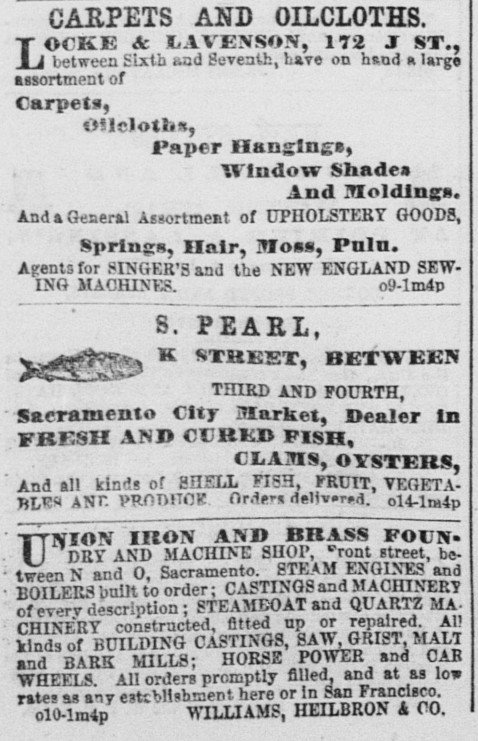 Illustrating Heilbron's widespread investments is this Oct. 19, 1865 advert in the Sacramento Union for the Union Iron and Brass Foundry, of which he is also listed as a partner.