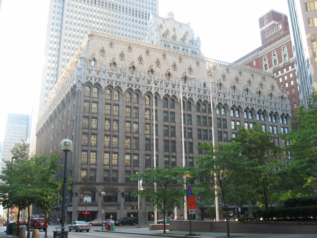 The Union Trust Building was modeled after the Municipal Hall in Leuven, Belgium and was completed in 1916.