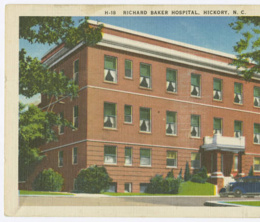 A postcard of the Richard Baker Hospital where Dr. Frye was hired in 1922
