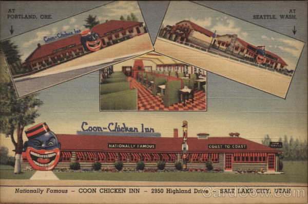Postcard from Seattle's Coon Chicken Inn with the company's restaurants in Seattle and Portland in the background