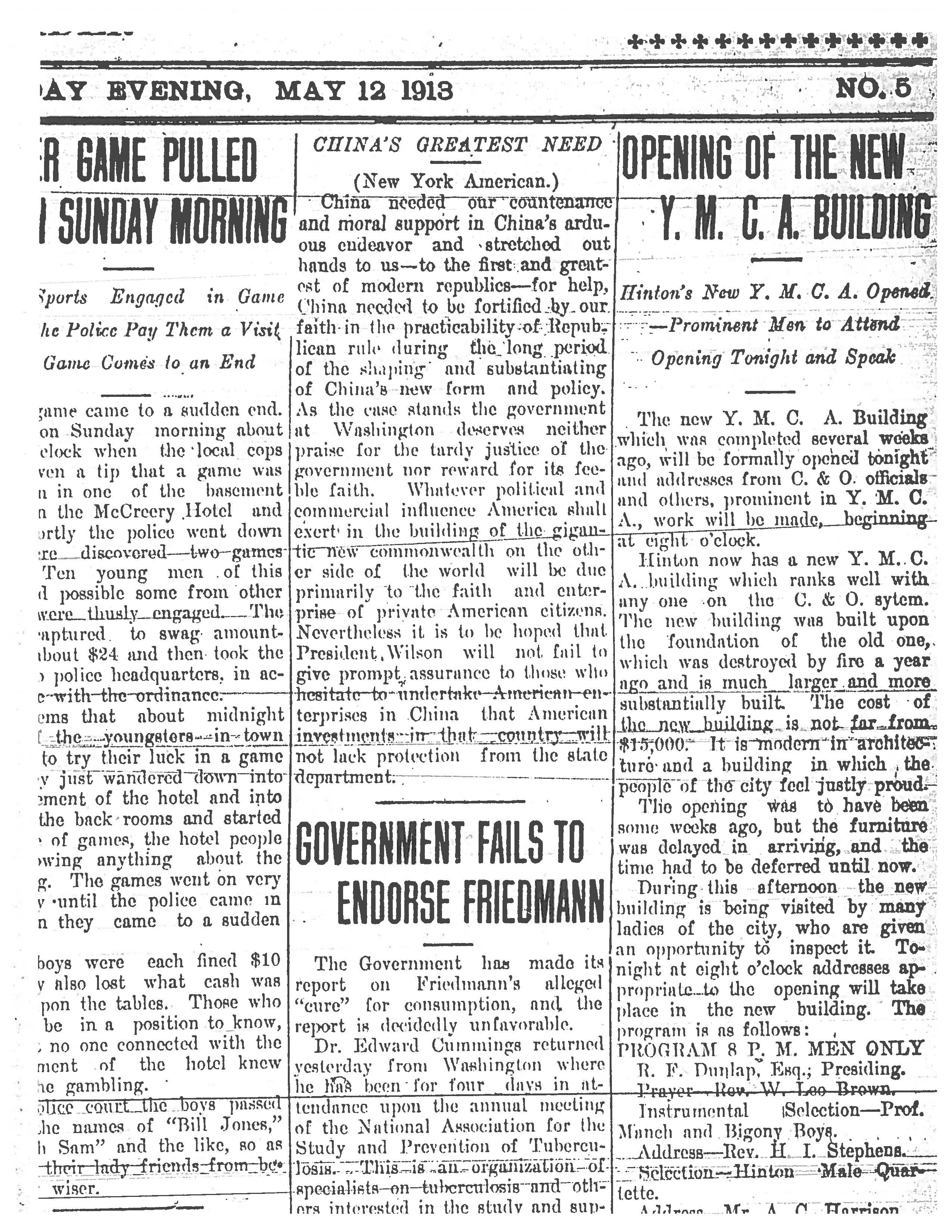 May 1913 newspaper article about the opening of the new YMCA building after the 1911 fire.