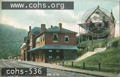 The Passenger Depot and original YMCA building from a ca. 1900 post card. From C&O Historical Society archives.