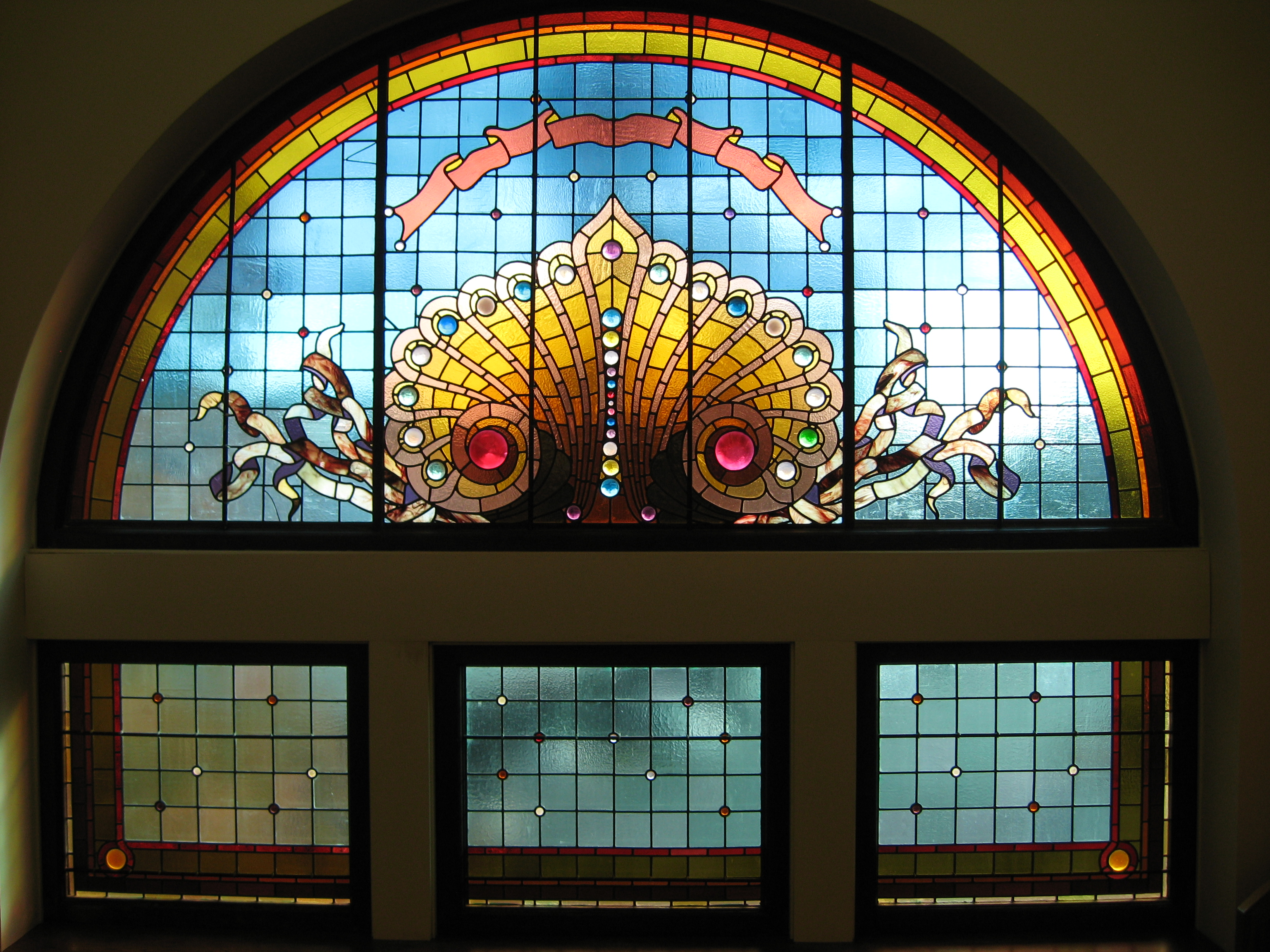 The building's many stained glass windows are among its most famous features.