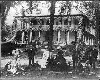 The Reynolds family during a front lawn garden party