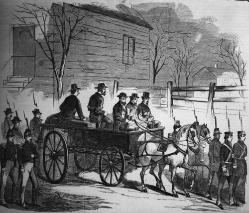 Sketch of John Brown riding on his coffin on the way to his execution