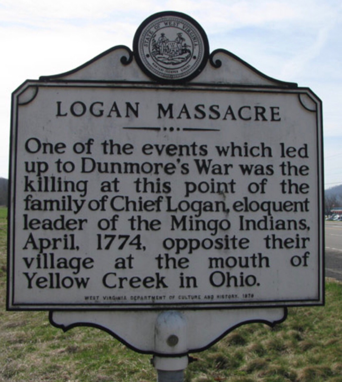 Historical Marker that denotes what occurred at the Logan Massacre.