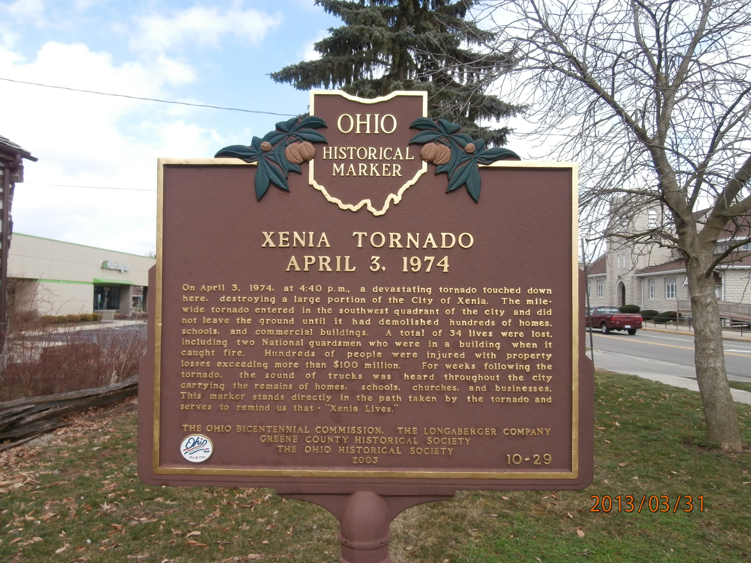 There is also a nearby historical marker that discusses the severity of the Xenia Tornado.