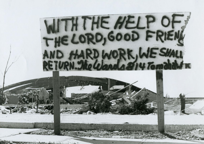 This sign demonstrated the faith and resolve of local residents in the aftermath of the storm. Many residents displayed bumper stickers and wore shirts with the slogan XENIA LIVES in the aftermath of the storm.