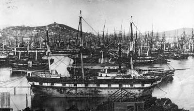 Abandoned sailing ships in Yerba Buena Cove (San Francisco), circa 1850