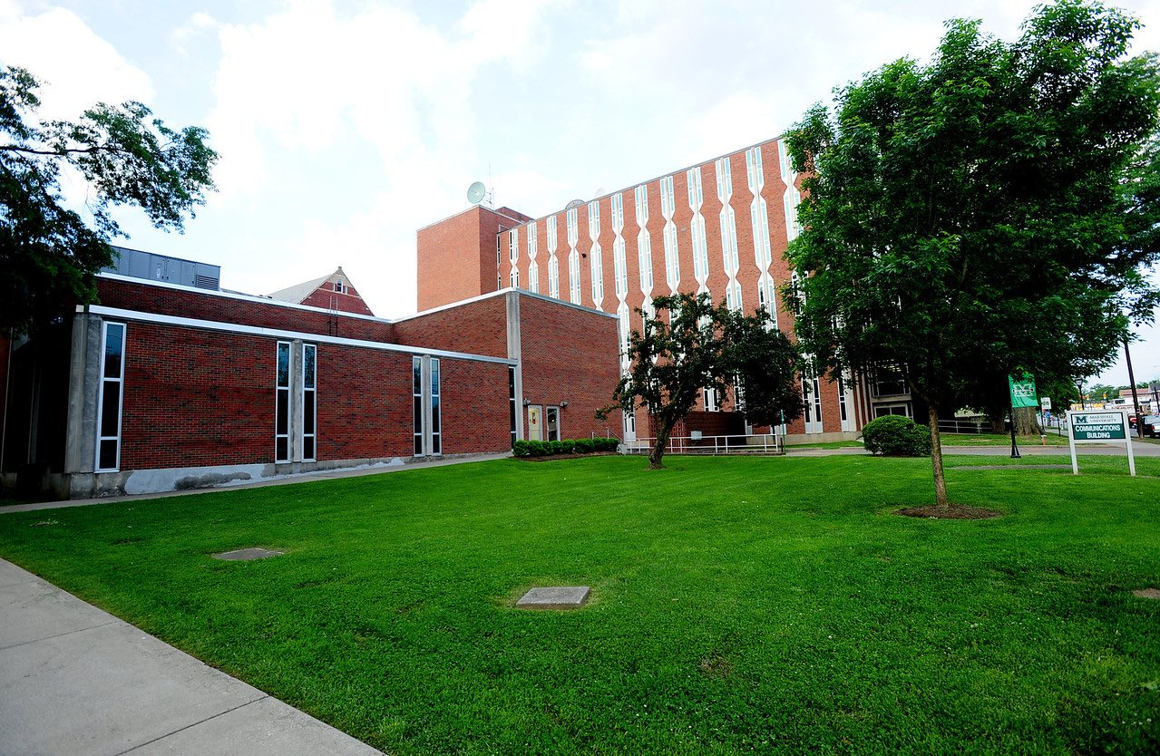 The Communications Building on the east side of Smith Hall contains offices for The Parthenon student newspaper, WMUL radio station, and a television broadcasting studio.