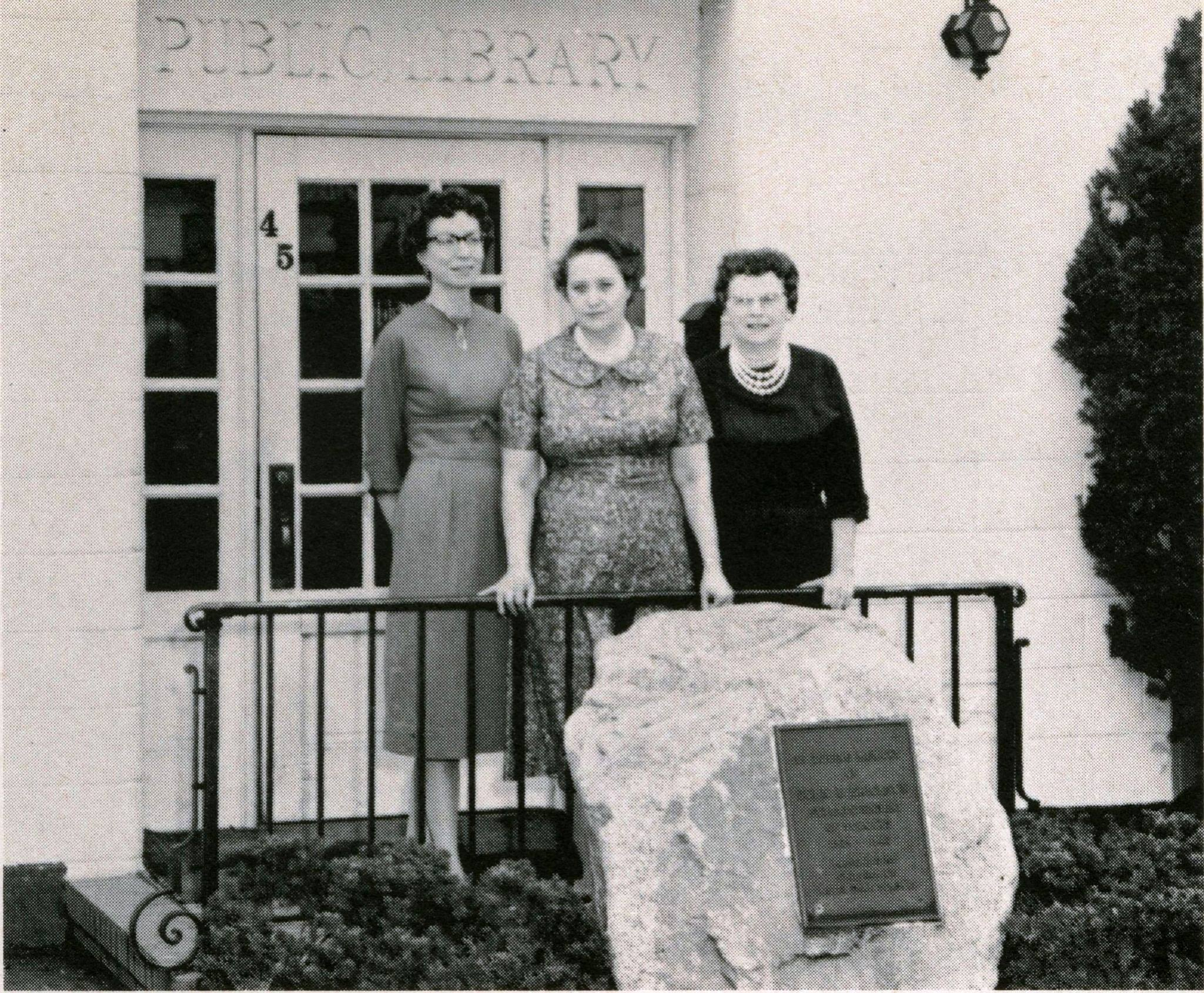 Photo of the original Hazel Park John E Erickson Memorial Library staff, in the 1960s.